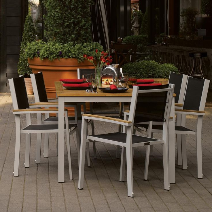 Classic And Timeless   Travira 6 Person Sling Patio Dining Set   Black