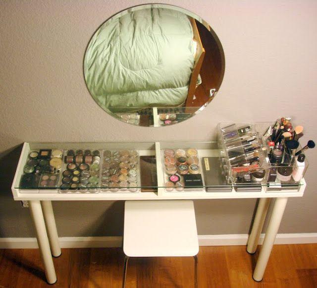 ikea hack-- small makeup vanity // Materials: Ekby Gruvan shelf; Vika Curry legs; Godmorgon box; Kolja mirror; Gilbert stool