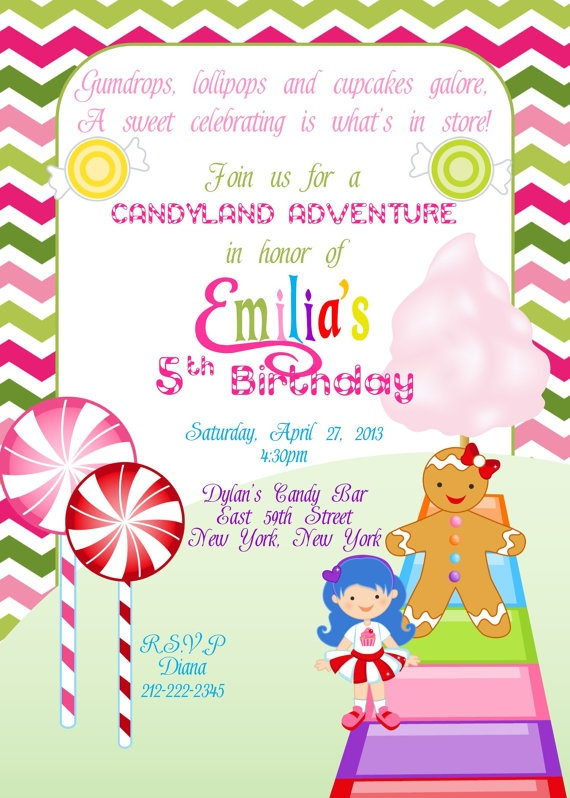 PRINTABLE Candy land Birthday Invitation by MySentimentsInvites... of course I'd make my own though.