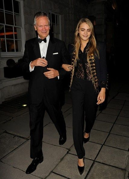 Cara Delevingne & Dad Night Out 10th February, 2014: Cara Delevingne and her father Charles Delevingne left their home to go to a charity dinner at Christies, 5 Pall Mall, London, in aid of the Old Vic Theater.