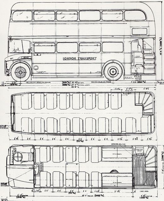 Blueprints for a double decker bus all things england for Convert image to blueprint online
