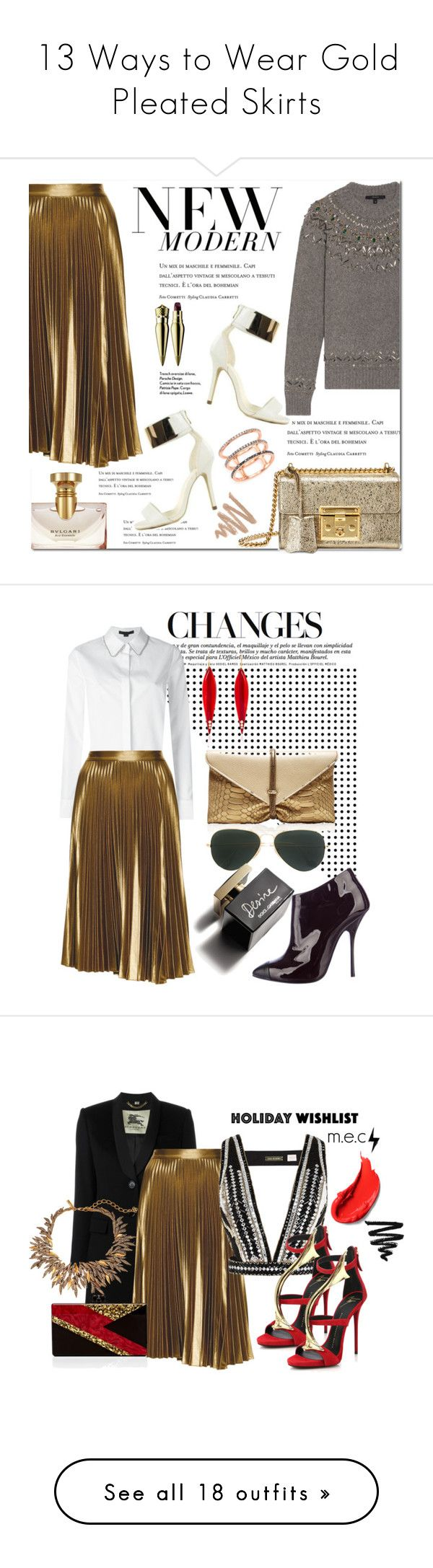 """13 Ways to Wear Gold Pleated Skirts"" by polyvore-editorial ❤ liked on Polyvore featuring waystowear, goldpleatedskirt, A.L.C., Nly Shoes, Gucci, EF Collection, Bulgari, Christian Louboutin, Alexander Wang and VBH"