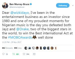 Ben Bruce Reacts To Wizkids MOBO 2017 Award & Beating Jay Z & Drake