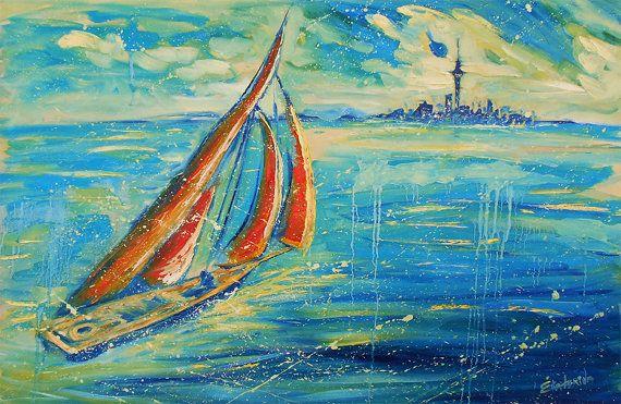 Sailboat painting - Auckland Painting - seascape, ocean art, sea, blue art, large painting, skyline New Zealand, Large original oil painting