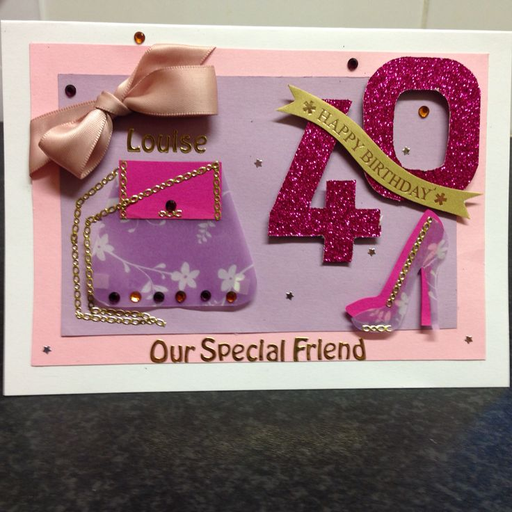 40th birthday card pink and girly for a shoe and handbag lover