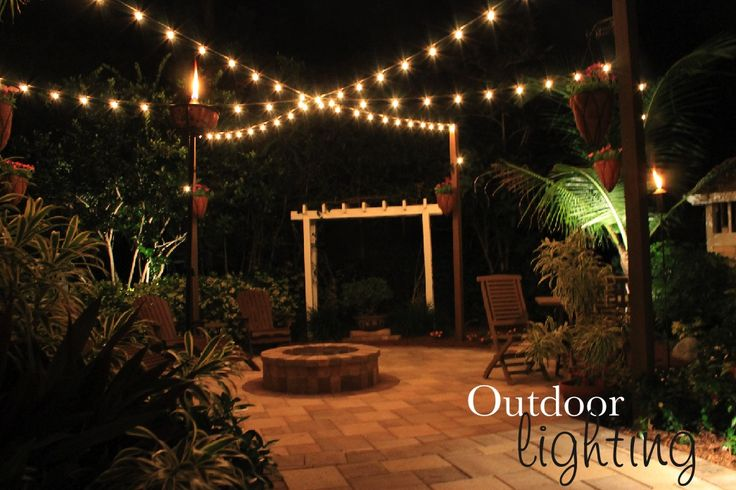Hanging String Lights Over Pool : 17 Best images about Backyard on Pinterest String lights, Backyards and Deck box