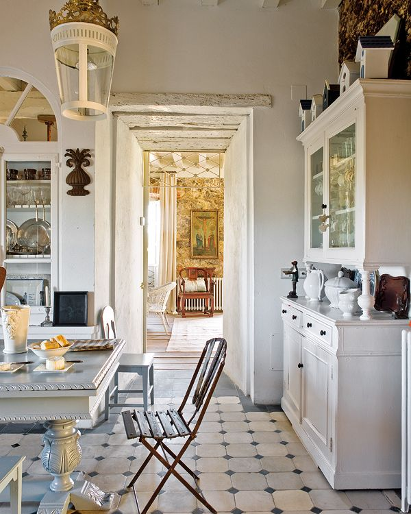 Hutch for kitchen cabinets?! Love the beautiful eclectic rooms in this renovated Spanish home ...   the owner, a collector of antique pieces has filled the home with amazing pieces from their travels - dustjacket attic