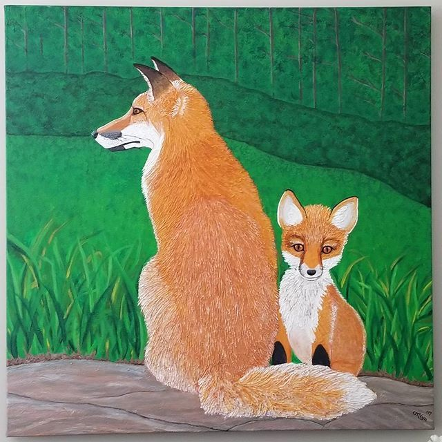 Living with my creations and loving their wildness! I have this one hung in my living room. The perks of being an artist. 😁😉 . . . #muskokaartist #fineart #wild #wildlife #nature #redfox #young #mother #texture #texturedart #contemporaryart #wallart #homedecor #interiordesign
