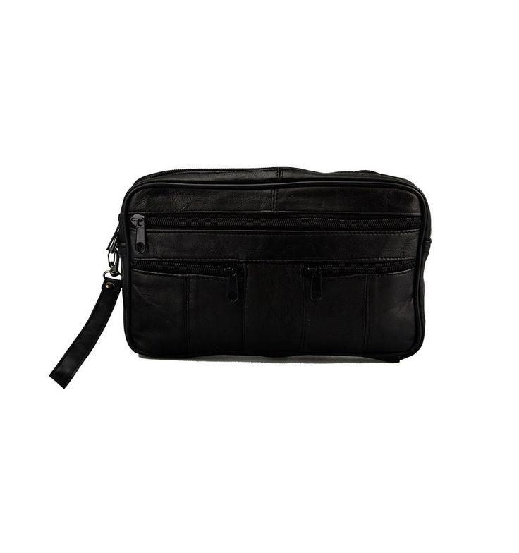 Stor herre taske med håndleds rem, lavet af kalveskind