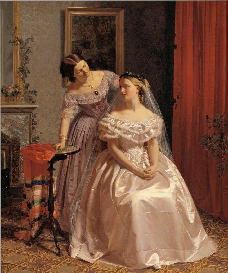 Henrik Olrik  Dansk: Bruden smykkes af sin veninde  (English: The Bride is Embellished by Her Girl Friend), 1859