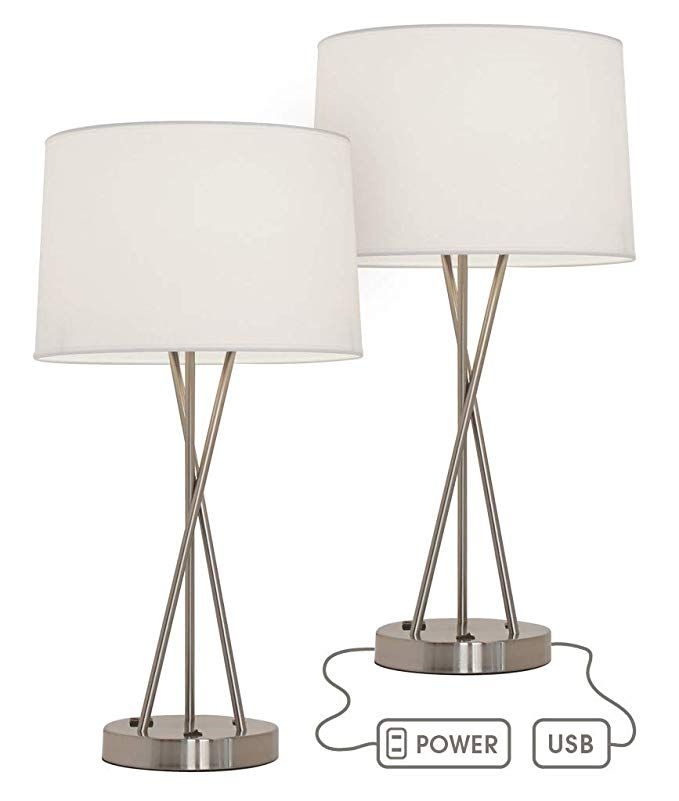 Paradis Brushed Nickel Lamp With Outlet And Usb Port Set Of 2 Amazon Com Side Table Lamps Table Lamps Living Room Tall Table Lamps