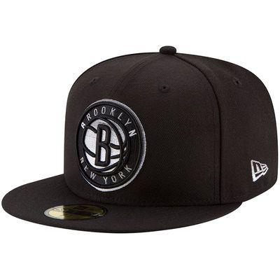 Men's New Era Black Brooklyn Nets Logo Grade 59FIFTY Structured Hat