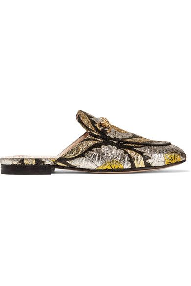 Gucci - Princetown Horsebit-detailed Metallic Floral-jacquard Slippers - Gold - IT39.5