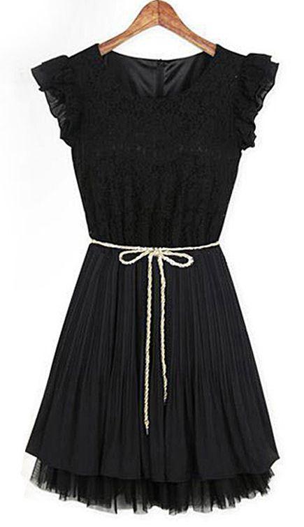 Black Lace Frill Sleeve Belt Chiffon Pleated Dress #sheinside