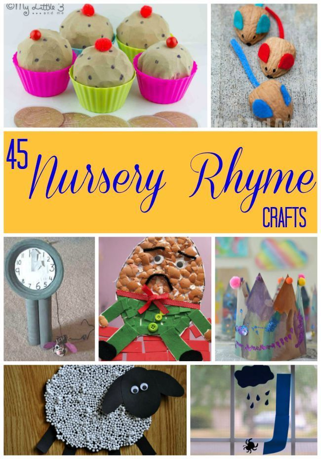 Crafts perfect for 45 nursery rhymes! These are great for preschoolers and kindergarten children