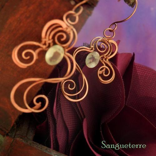 Scinitilla * firefly earrings * wirewrapping * wirewrapped * jewelry * copper * romantic * fantasy * fairy * elf * fairytale * magic * art nouveau * handmade