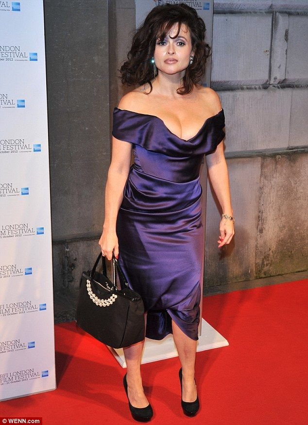 Hourglass: Helena Bonham Carter showed off her figure in low cut Vivienne Westwood dress at the BFI London Film Festival awards on Saturday night
