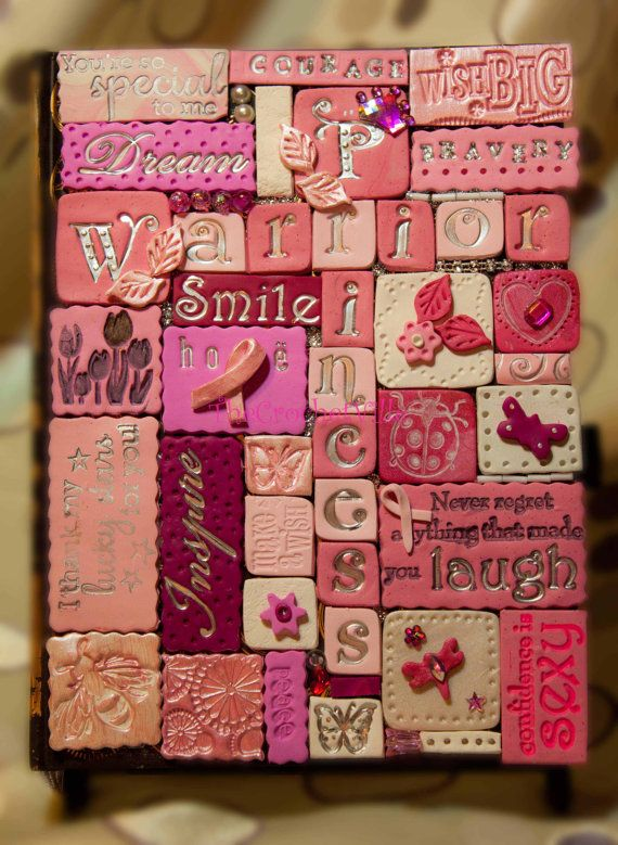 Breast Cancer Awareness Polymer Clay Mosaic Tile Journal
