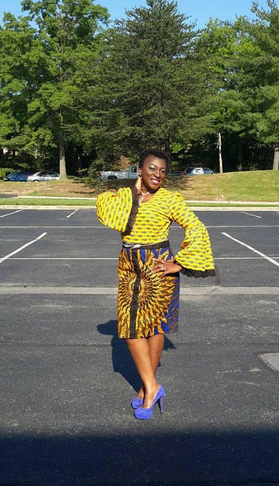 African Print sur mesure robe taille ajustée. Corsage de