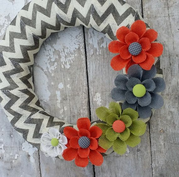 Chevron Burlap Wreath Spring Wreath Summer Wreath by BurlapBlooms