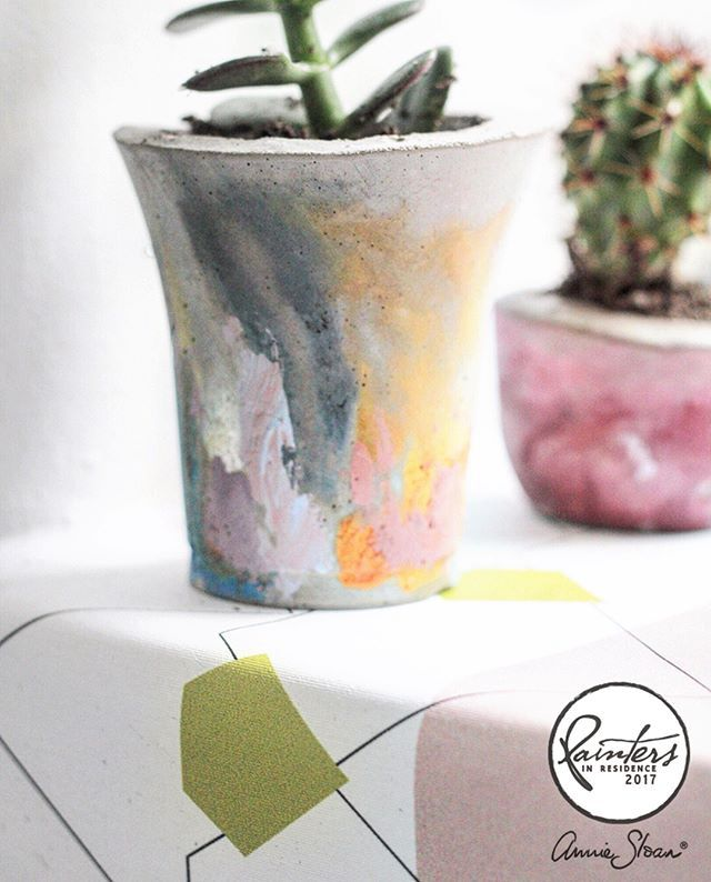 Very excited to announce the first project from my latest Painter in Residence, Hester van Overbeek. Known for working with concrete, she has made these beautiful, painterly planters by hand, adding gorgeous pops of Chalk Paint® here and there. They're perfect as a gift and so easy and fun to do!