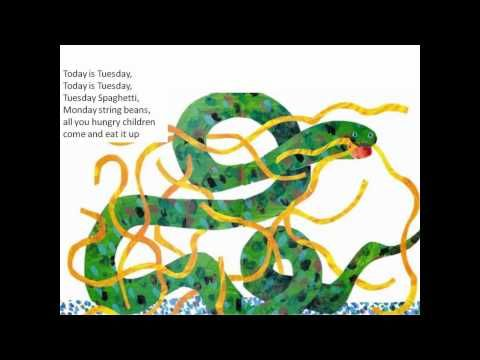 """""""Today is Monday"""" by Eric Carle: this song is too cute and now the book actually makes sense!"""
