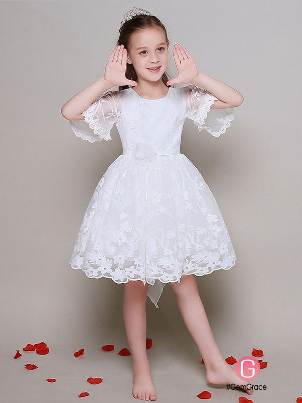 13ecdc82987c Short Sleeved Ball Gown Lace Pageant Dress for Little Girls  EFL31 ...