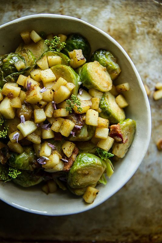 Apple and Bacon Brussels Sprouts   HeatherChristo.com