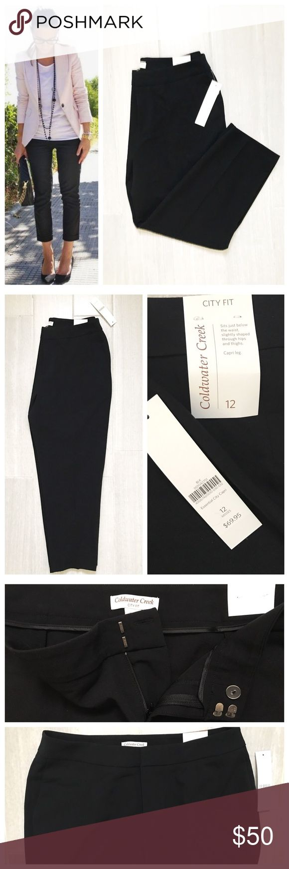 "NWT Coldwater Creek Black Capri Pants City Fit New with tags black capri pants by Coldwater Creek ""city fit"". Size 12. Black. 73% polyester 20% rayon 7% spandex. First photo on left not actual item just showing for style! Coldwater Creek Pants"