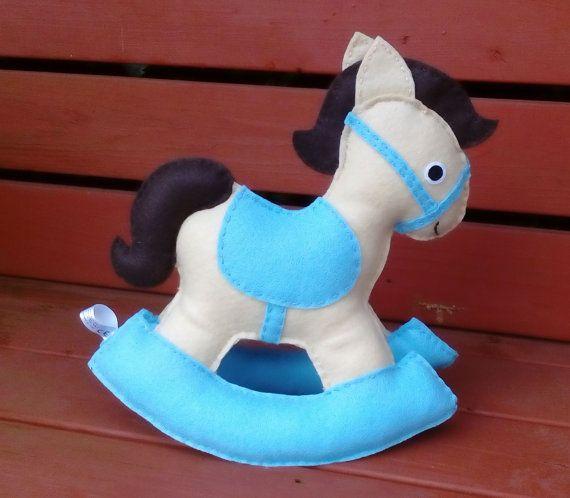 Rocking Horse Felt Toy Childrens Toy Blue Nursery by DaisyFelts
