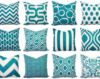 Teal Throw Pillow Cover Decorative Pillow by CastawayCoveDecor