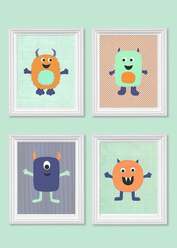 Mint Navy Orange Monster Nursery Art Little Boys Room Decor Baby Shower Gift Quad Set of Prints 8 x 10 or 11 x 14 Prints Paper or Canvas