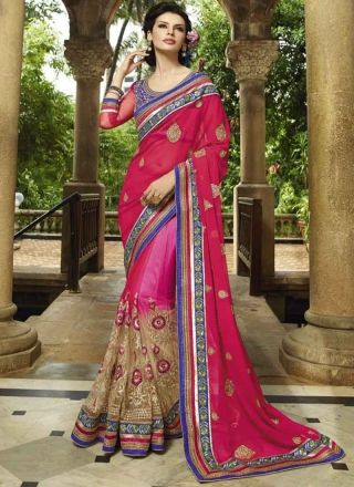 Marvelous Magenta and Cream Embroidery work Net half saree