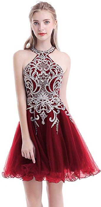 1d5099d07097 Aurora Bridal Women's Halter Beaded Homecoming Dresses 2018 Short Tulle  Prom Gown Size 14 Burgundy at Amazon Women's Clothing store: