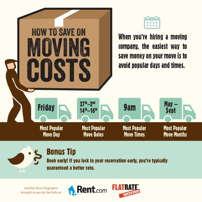 How to Save on Moving Costs - there's a lot of moving costs—like movers, rental trucks and packing materials. There are ways you can save money and a whole lot of frustration The easiest way to save when hiring a moving company is to avoid peak days and times. Also, Oftentimes, movers and vans can have hidden fees and insurance, be sure to research the costs thoroughly.You don't want to get nickel-and-dimed to death…