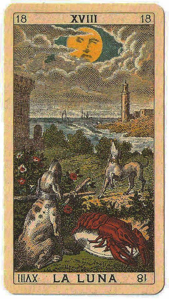 Quot La Luna Quot The Moon Ancient Italian Tarot Card From A