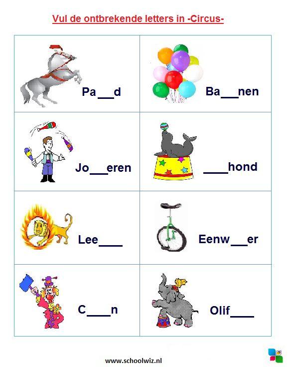 Vul de ontbrekende letters in: Circus. #puzzels #taal #kinderpuzzels #circus #schoolwiz
