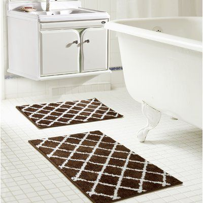 Winston Porter Jeanie Jacquard Bath Rug Set Color Chocolate