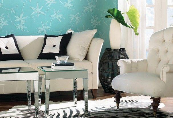 Blue teal - foglie turchesi per le pareti - #interior #design #turquoise