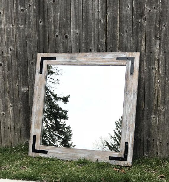 Light Whitewash Farmhouse Mirror Bathroom Wall Mirror Wood Frame Mirror Rustic Wood Mirror Vanity Mirror Small Mirror Large Mirror Farmhouse Mirrors Wood Mirror Rustic Mirrors
