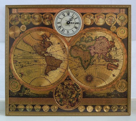 Gorgeous, vintage world map clock in frame. This is a vintage world map clock, using the map of the world by Adam Friedrich Zurner (17th century). Around the border are 26 smaller astronomical diagrams and hemispheres of the world.  A panorama along the bottom illustrates tempests, earthquakes, volcanic eruptions and tides occurring at various locations around the world.