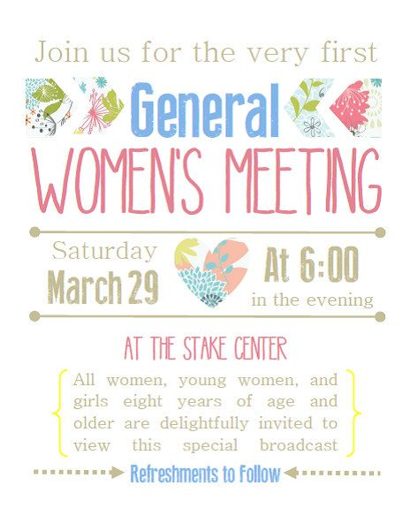 Printable Invitations for the LDS General Women's ...