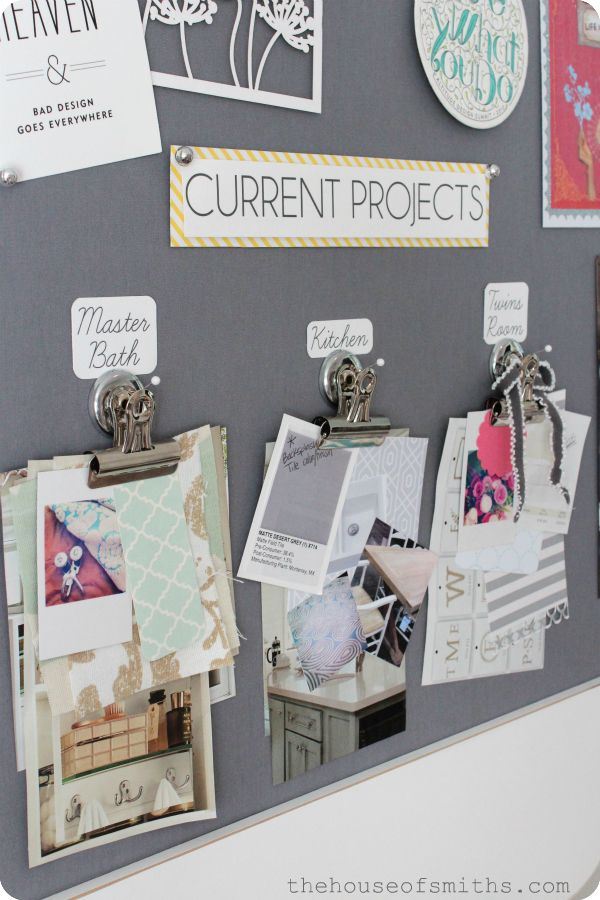 DEFINITELY need to do this current project board. Great idea. A  magnetic or even cork board to keep all the project papers clipped together.