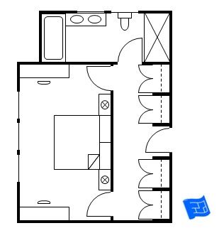 Master bedroom floor plan where the entrance is into a vestibule which doubles as the closet then there's two doors leading to the bedroom (either side of the bed) and a door leading to the bathroom.  Click through for more analysis.