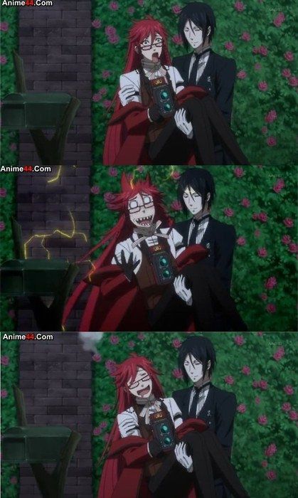 Sebastian and Grell are in a gay relationship but only Grell knows about it... Love em both :P :D <3 -_-