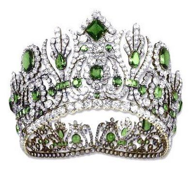 A gift from Napoleon Bonaparte to Marie Louise (his second wife and niece of Marie~Antoinette) on the occasion of their wedding, this incredible Diadem was just one component in the parure, or suite of jewelry, given to her that day. The components of the exquisite Emerald and Diamond parure of Empress Marie-Louise are an Emerald and Diamond Diadem, an Emerald and Diamond Necklace, a pair of Emerald and Diamond Earrings, an Emerald and Diamond Comb, and an Emerald Belt Clasp.