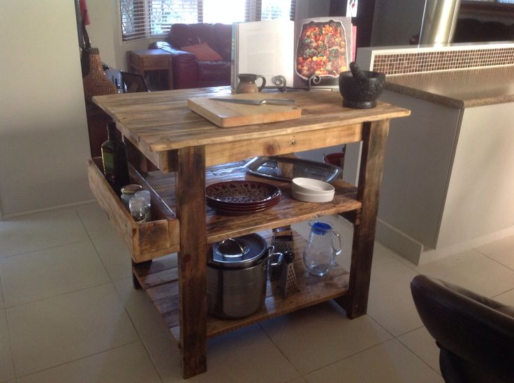 Rustic Kitchen island bench made from pallet wood. Sanded and stained. Made by Touchwood Creations Sunshine Coast. Queensland.