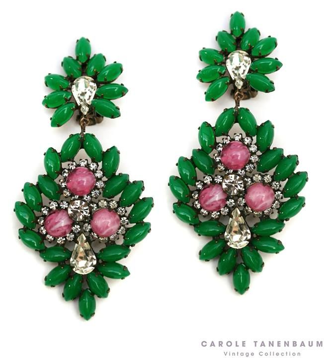1960's K.J.L. green and pink drop earrings