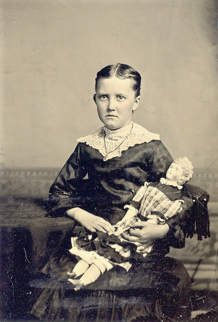 Circa 1880's Victorian Tintype   Girl With Doll