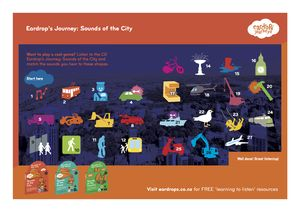 Sounds of the City game. Listen along to the story about Eardrop and The Postie delivering the boxes and spot all the sounds.